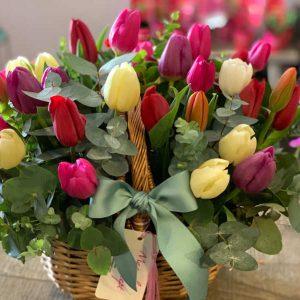 Cesta tulipanes Holland
